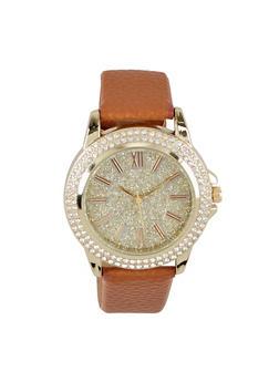 Rhinestone Bezel Faux Leather Watch - 3140071432623