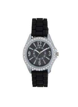 Rhinestone Bezel Rubber Strap Watch - 3140071432805
