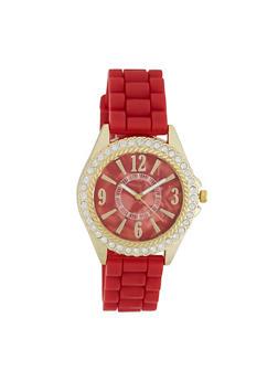 Rhinestone Bezel Rubber Strap Watch - 3140071432805