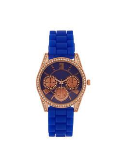 Rhinestone Bezel Silicone Watch - 3140071432912