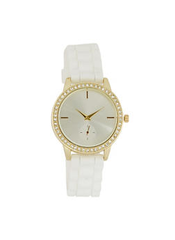Rhinestone Bezel Rubber Strap Watch - WHITE - 3140071432920