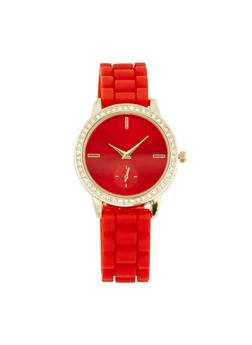 Rhinestone Bezel Rubber Strap Watch - 3140071432920