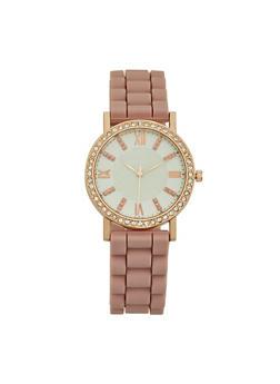 Rhinestone Bezel Rubber Strap Watch - ROSE - 3140071432924