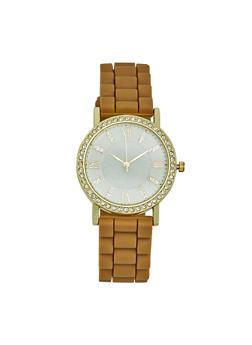 Rhinestone Bezel Rubber Strap Watch - GOLD - 3140071432924