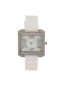 Roman Numeral Rhinestone Square Watch - 3140071432956