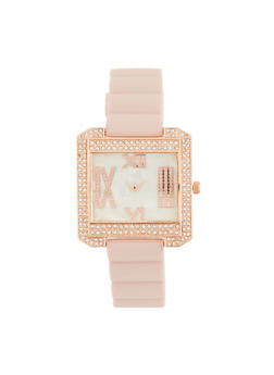 Roman Numeral Rhinestone Square Watch - BLUSH - 3140071432956