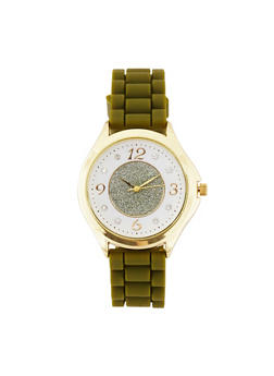 Glitter Face Rubber Watch - OLIVE - 3140071432958