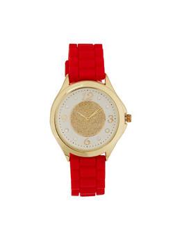 Glitter Face Rubber Watch - RED - 3140071432958