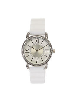 Rhinestone Bezel Silicone Watch - WHITE - 3140071432959