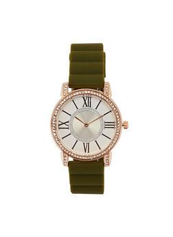 Rhinestone Bezel Silicone Watch - 3140071432959