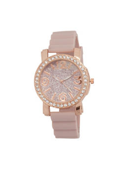 Glitter Face Rubber Strap Watch - BLUSH - 3140071432960