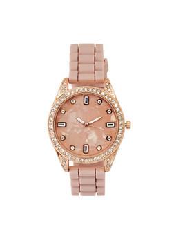 Rhinestone Bezel Silicone Watch - 3140071432961