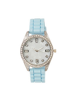 Rhinestone Bezel Silicone Watch - BLUE - 3140071432961