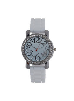 Rhinestone Glitter Heart Rubber Strap Watch - WHITE - 3140071432962