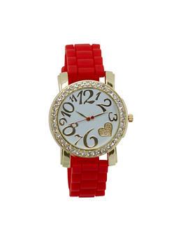 Rhinestone Glitter Heart Rubber Strap Watch - 3140071432962