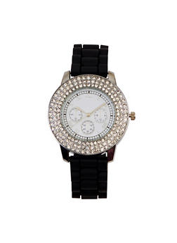 Roman Numeral Rhinestone Watch - BLACK - 3140071432963