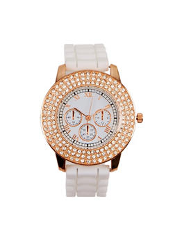 Roman Numeral Rhinestone Watch - WHITE - 3140071432963