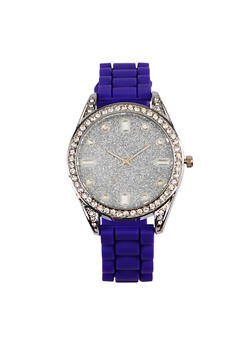 Glitter Silicone Strap Watch - PURPLE - 3140071432964