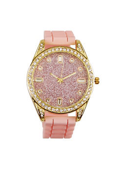 Glitter Silicone Strap Watch - BLUSH - 3140071432964