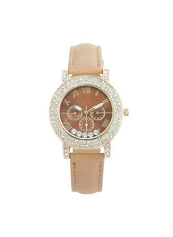 Rhinestone Bezel Faux Leather Watch - TAN - 3140071433021