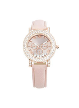 Rhinestone Bezel Faux Leather Watch - BLUSH - 3140071433021