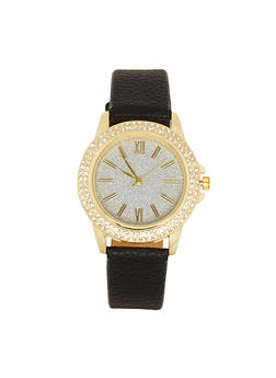 Glitter Face Faux Leather Watch - 3140071433262