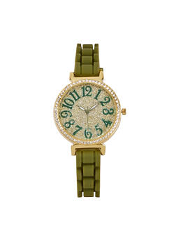 Glitter Rhinestone Silicone Watch - 3140071433292