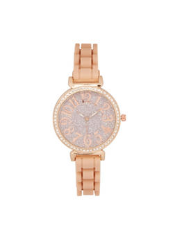 Glitter Rhinestone Silicone Watch - BLUSH - 3140071433292