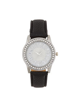 Glitter Face Faux Leather Watch - 3140071433547