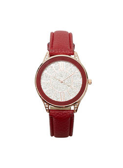 Glitter Face Faux Leather Watch - 3140071433571