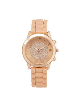 Silicone Strap Metallic Watch - BLUSH - 3140071433612