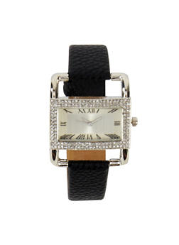 Rhinestone Square Faux Leather Watch - 3140071433633