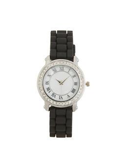 Marbled Face Rhinestone Bezel Watch - 3140071433654