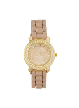 Marbled Face Rhinestone Bezel Watch - TAN - 3140071433654