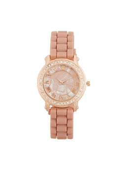 Marbled Face Rhinestone Bezel Watch - ROSE - 3140071433654