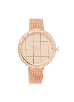 Rhinestone Metallic Mesh Watch - 3140071434187