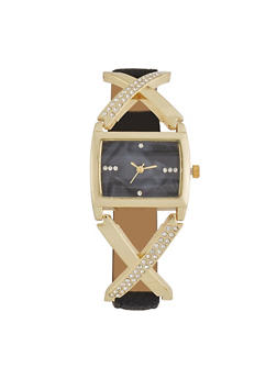 X Detail Faux Leather Watch - 3140071434651