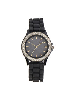 Rhinestone Bezel Silicone Strap Watch | 3140071434658 - 3140071434658