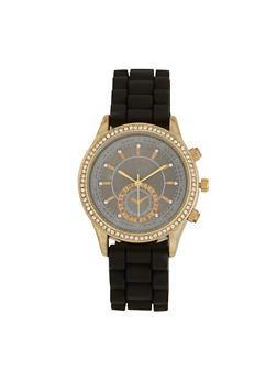 Rubber Strap Rhinestone Bezel Watch - 3140071434813
