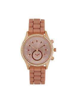 Rubber Strap Rhinestone Bezel Watch - 3140071434813