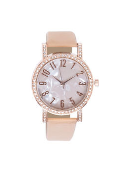 Rhinestone Bezel Marble Face Watch - 3140071435231