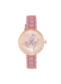 Jeweled Face Rubber Strap Watch - PURPLE - 3140071435265