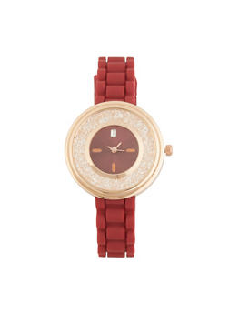 Jeweled Face Rubber Strap Watch - WINE - 3140071435265