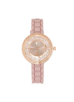 Jeweled Face Rubber Strap Watch - PINK - 3140071435265