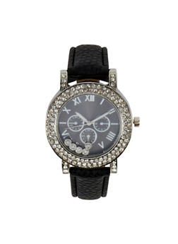 Floating Rhinestone Faux Leather Strap Watch - 3140071435325