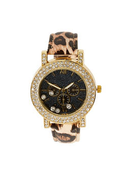 Floating Rhinestone Faux Leather Strap Watch - 3140071435325