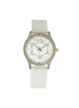 Silicone Strap Metallic Watch - IVORY - 3140071435392