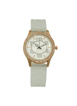 Silicone Strap Metallic Watch - ROSE - 3140071435392