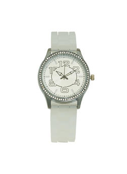 Silicone Strap Metallic Watch - CLEAR - 3140071435392