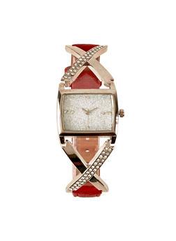 Glitter Square Face Criss Cross Watch - 3140071435411